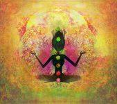 Yoga lotus pose Padmasana with colored chakra points , raster